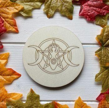 Triple Moon, Pentagram and Goddess Birch Altar Tile