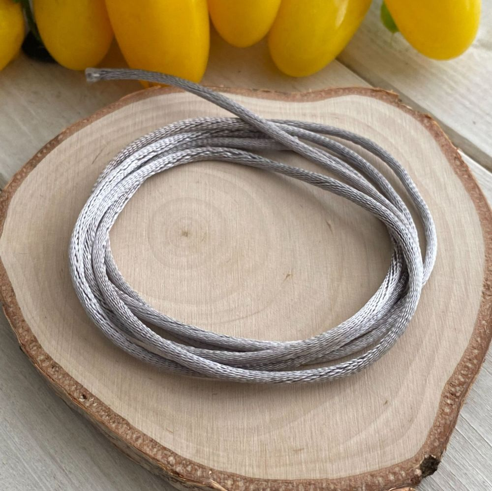 3m piece of Silky Silver Grey Cord