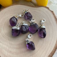 A Mini Tumble Electro Silver Plated Charm ~ Amethyst