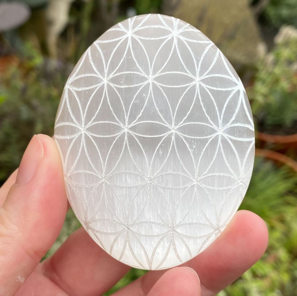Selenite Palm with Etched Crystal Grid