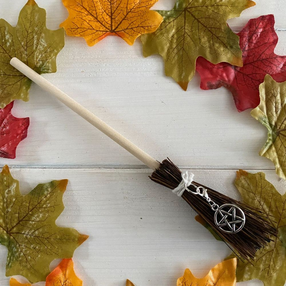 Hand Crafted Witches Broom with Pentagram Charm