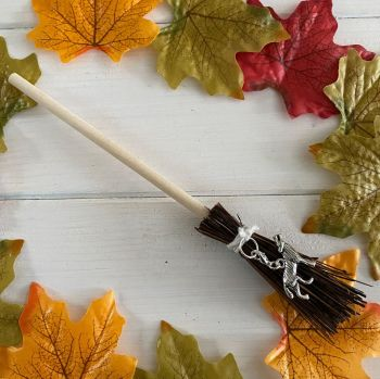 Hand Crafted Witches Broom with Wolf Charm