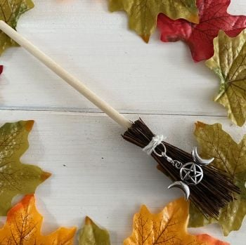 Hand Crafted Witches Broom with Triple Moon Charm