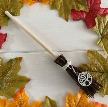 Hand Crafted Witches Broom with Tree of Life Charm