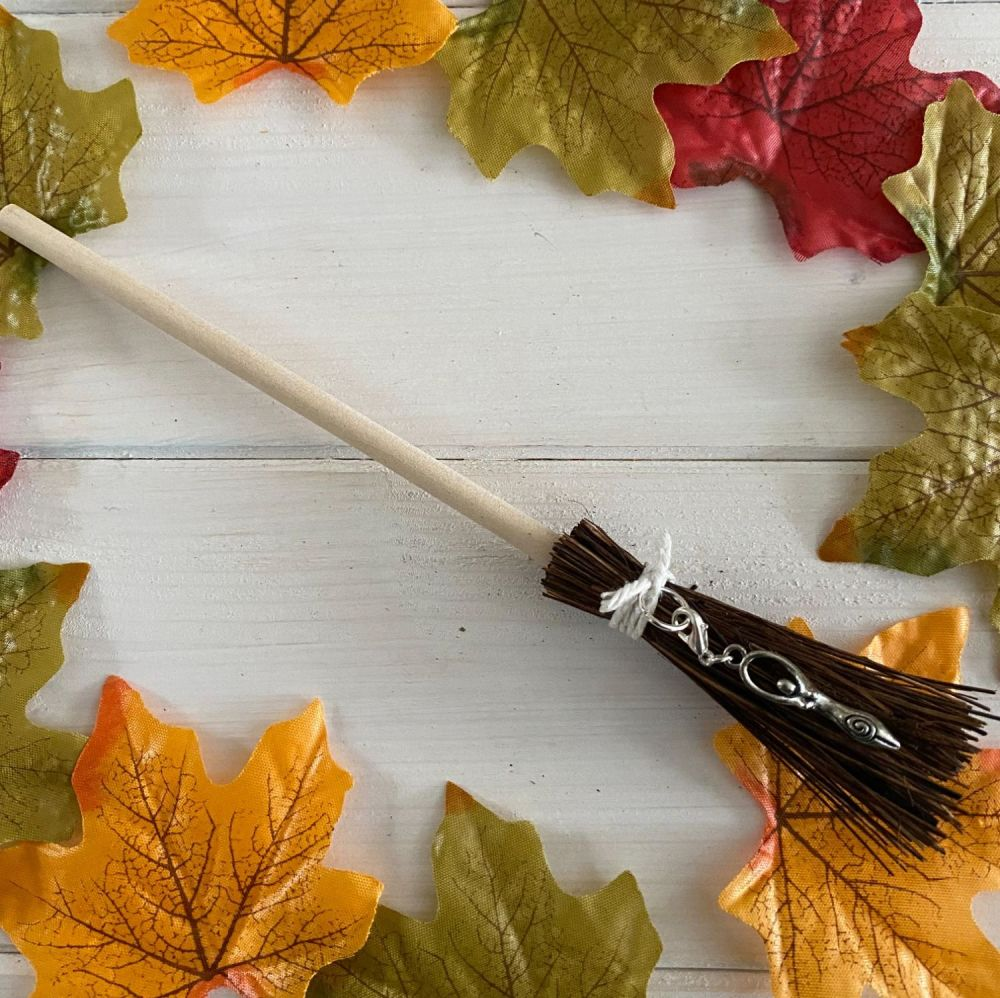 Hand Crafted Witches Broom with Goddess Charm