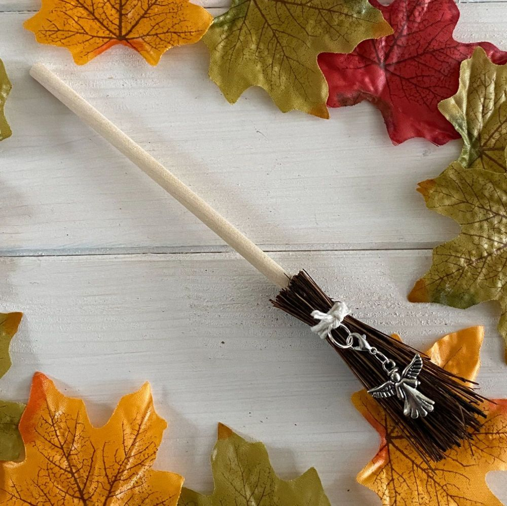 Hand Crafted Witches Broom with Guardian Angel Charm