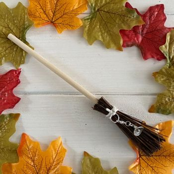 Hand Crafted Witches Broom with Hat Charm