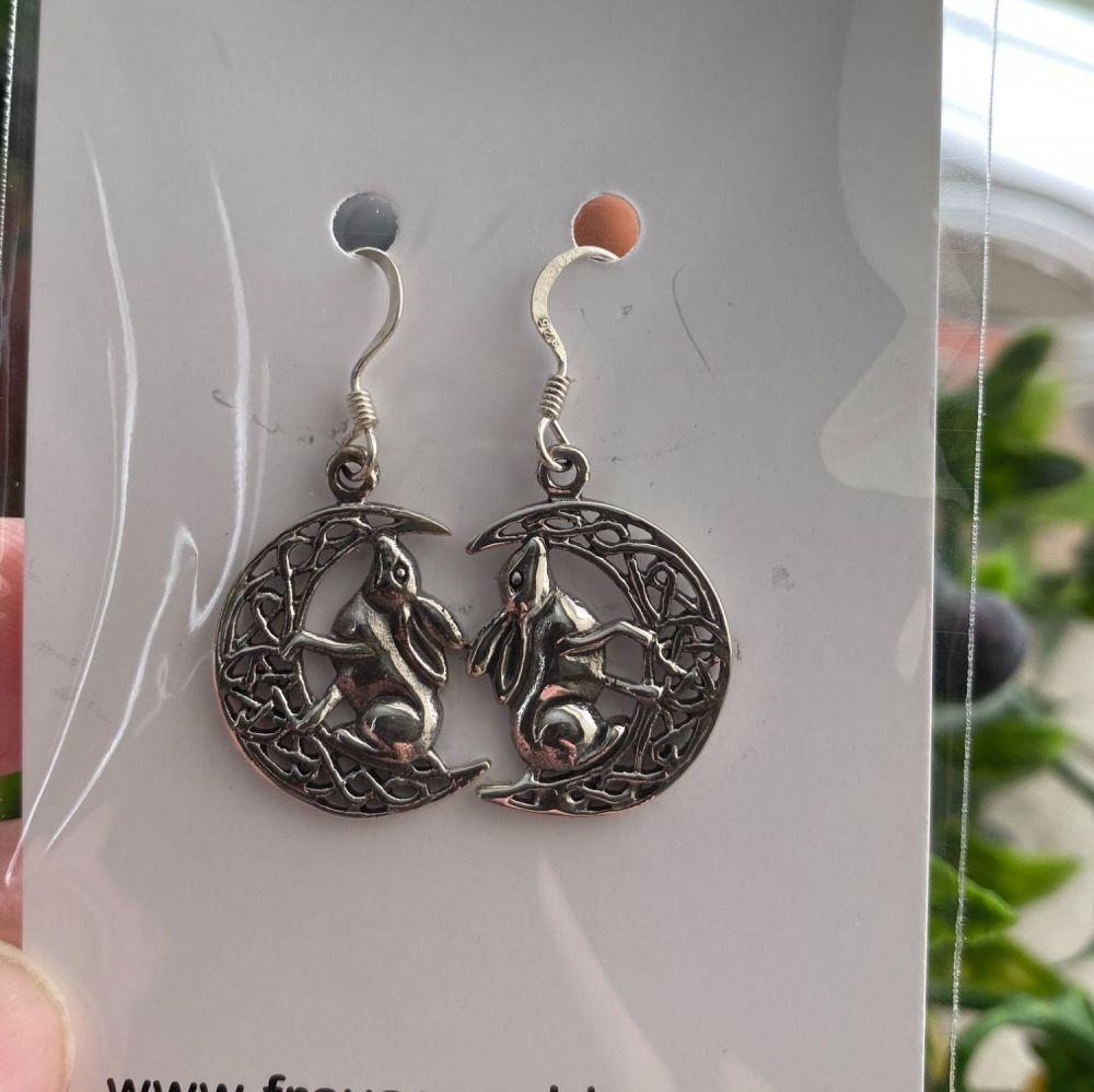 Lisa Parker Moon Gazing Hare 925 Sterling Silver Earrings ~ SALE