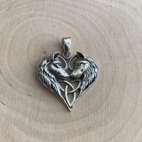 Lisa Parker Wolf Heart 925 Sterling Silver Pendant ~ SALE