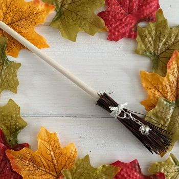 Hand Crafted Witches Broom with Cauldron Charm