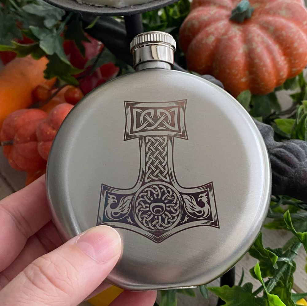 A Stunning Thor's Hammer/See you in Valhalla Viking Design Hip Flask ~ Boxe