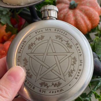 A Stunning Elemental Pentagram and Astrology Wheel Hip Flask ~ Boxed