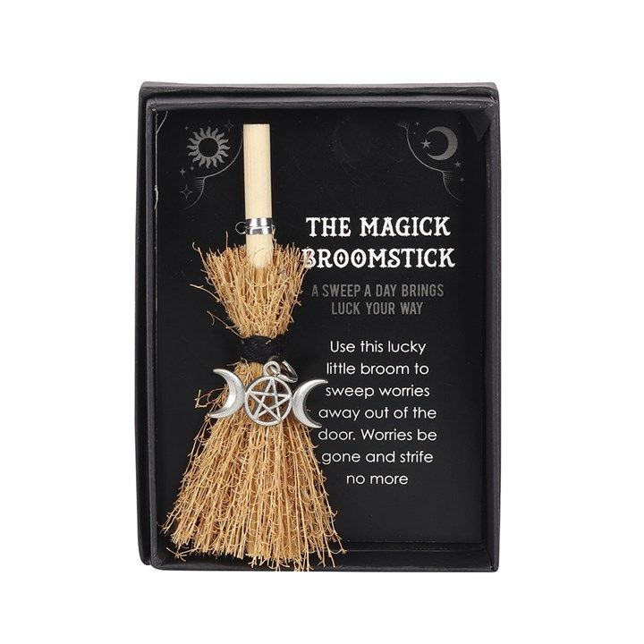 Witches Broom with Triple  Moon in Gift Box