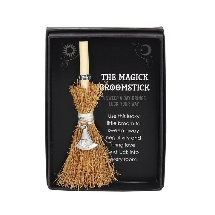 Witches Broom with Hat Charm in Gift Box