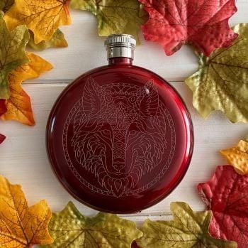 A Stunning Sacred Wolf  Hip Flask