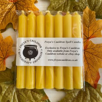 7 Yellow 10 cm Spell Candles