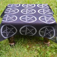 "Altar Cloth ~ Black with Pentagram Design 20"" x 20"""