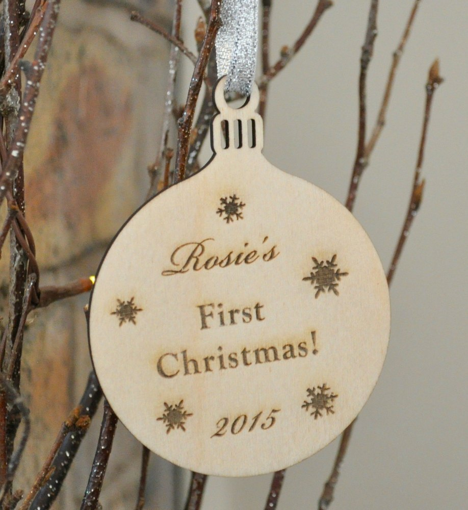 Personalised Wooden Baby's First Christmas Bauble