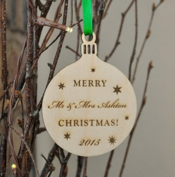 Personalised Wooden Mr And Mrs Bauble