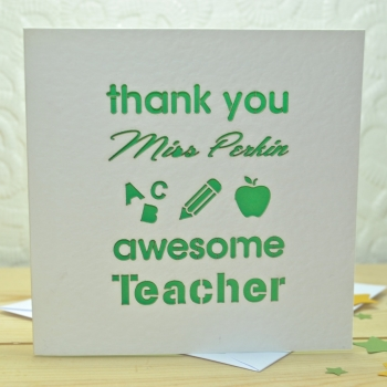 Personalised Laser Cut Thank You Teacher Card