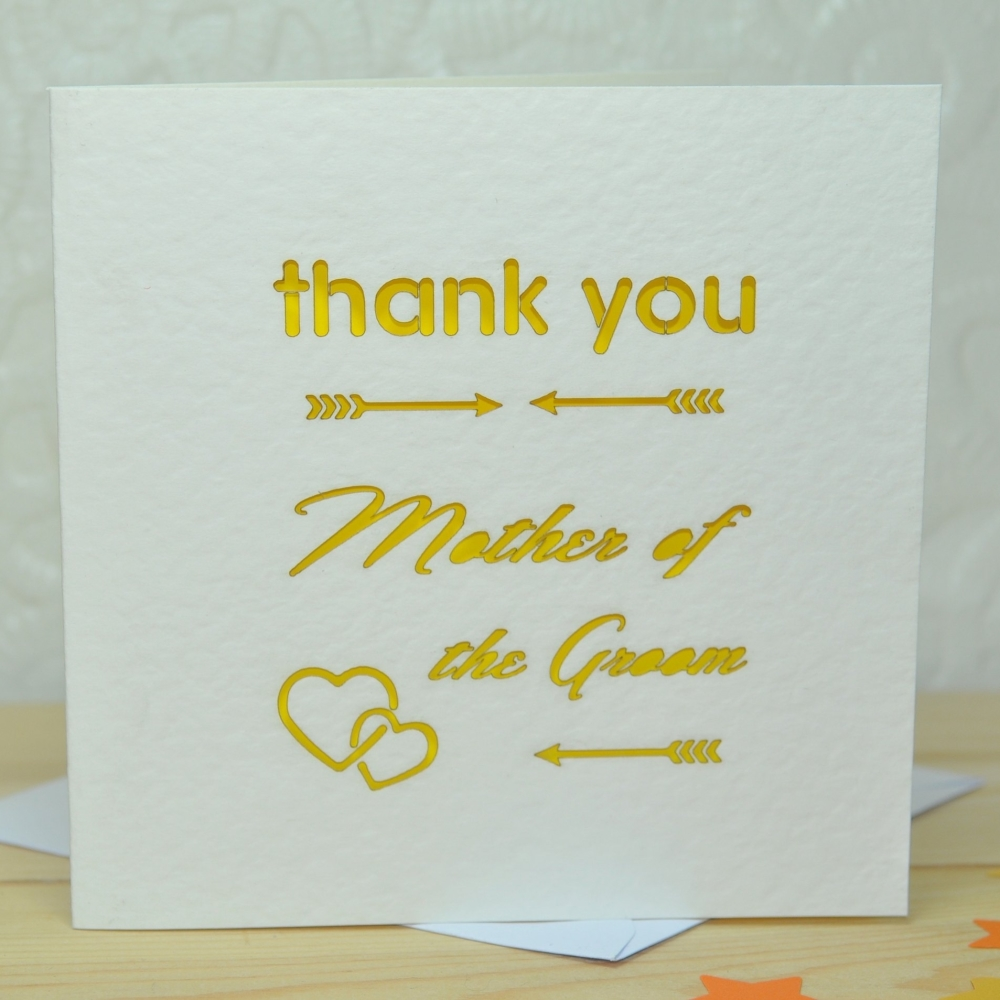 Laser Cut Mother Of The Groom Thank You Card