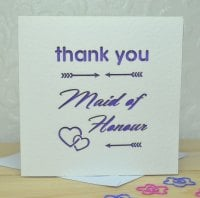 Laser Cut Maid Of Honour Thank You Card