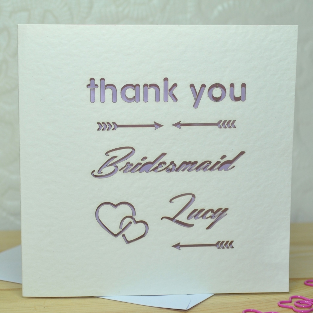 Laser Cut Personalised Bridesmaid Thank You Card