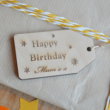 Personalised Wooden Birthday Gift Tag