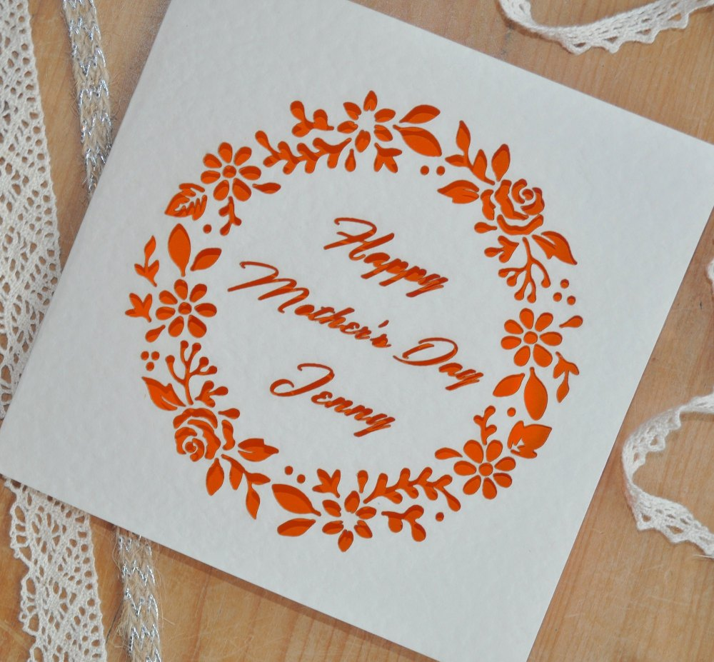 Laser Cut Personalised Mother's Day Card