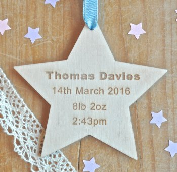 New Baby Wooden Hanging Star