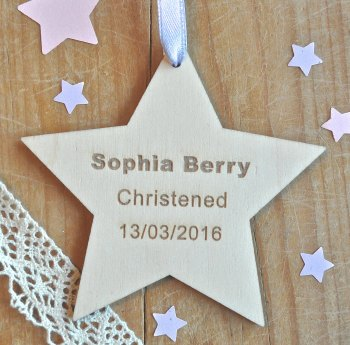Christened/Baptism Wooden Hanging Star