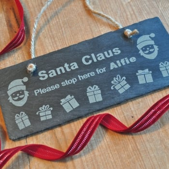 Personalised Santa Claus Slate Sign
