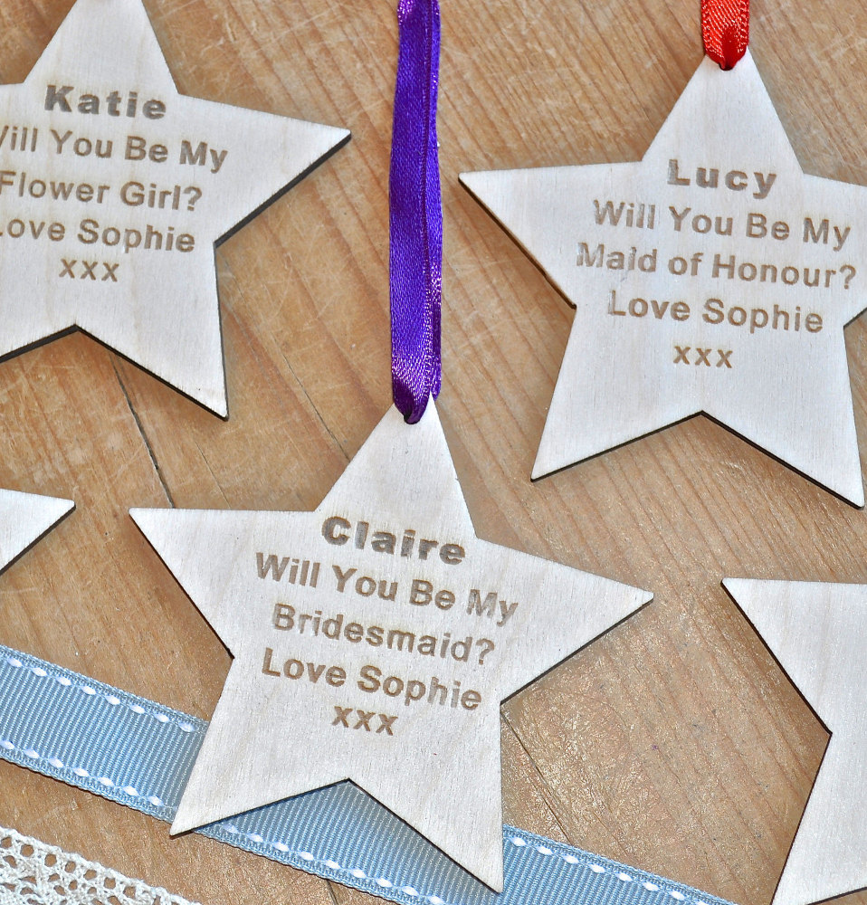 Will You Be My Bridesmaid? Wooden Star