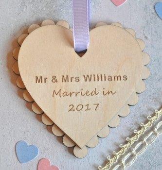 Wedding Date Wooden Heart