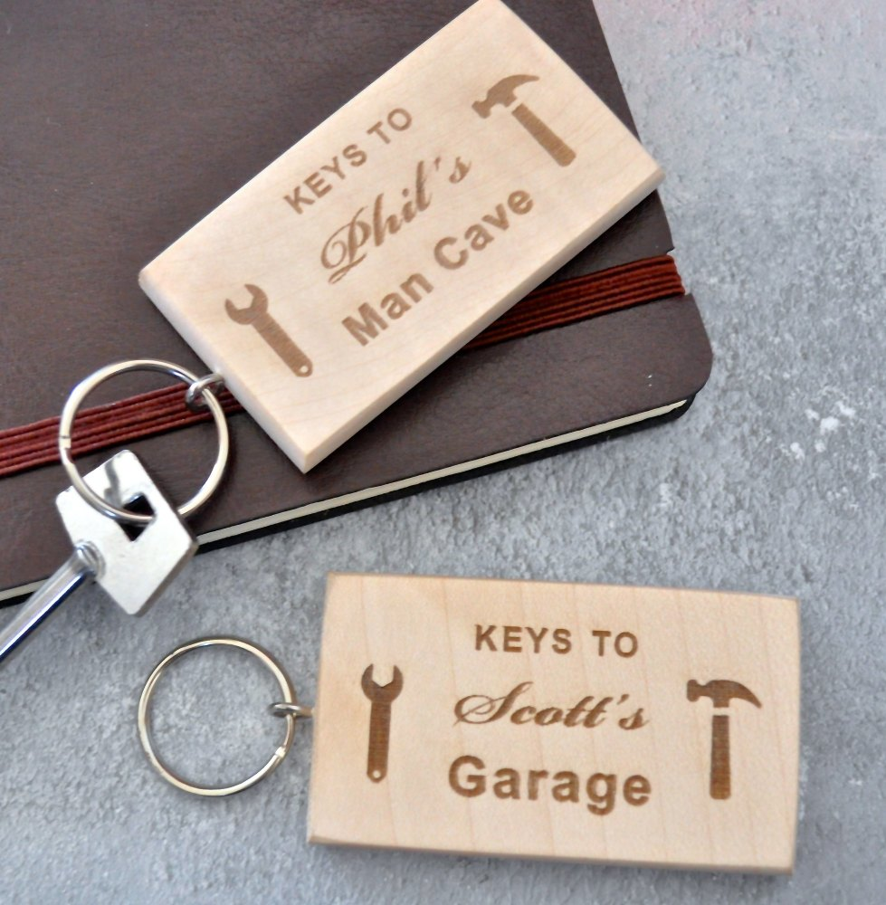 Personalised Wooden Man Cave Keyring