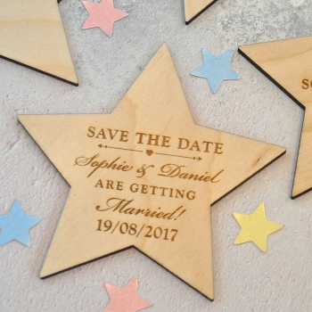 Personalised Save The Date Star Magnet