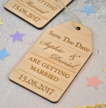 Wooden Save The Date Tag