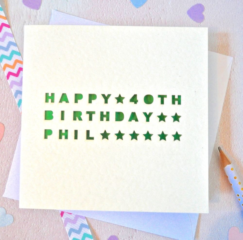 Personalised Star Laser Cut Birthday Card