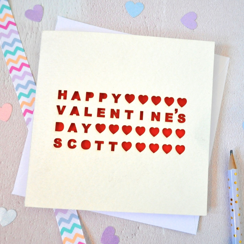 Personalised Laser Cut Heart Valentine's Day Card