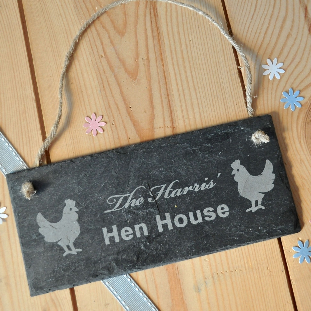 Personalised Hen House Slate Sign