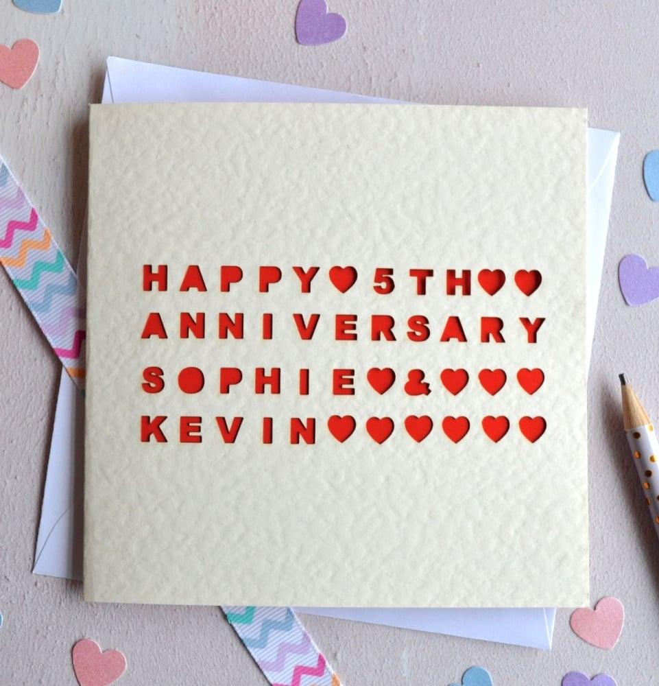 Personalised Laser Cut Anniversary Card