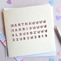 Personalised Laser Cut Baby Card