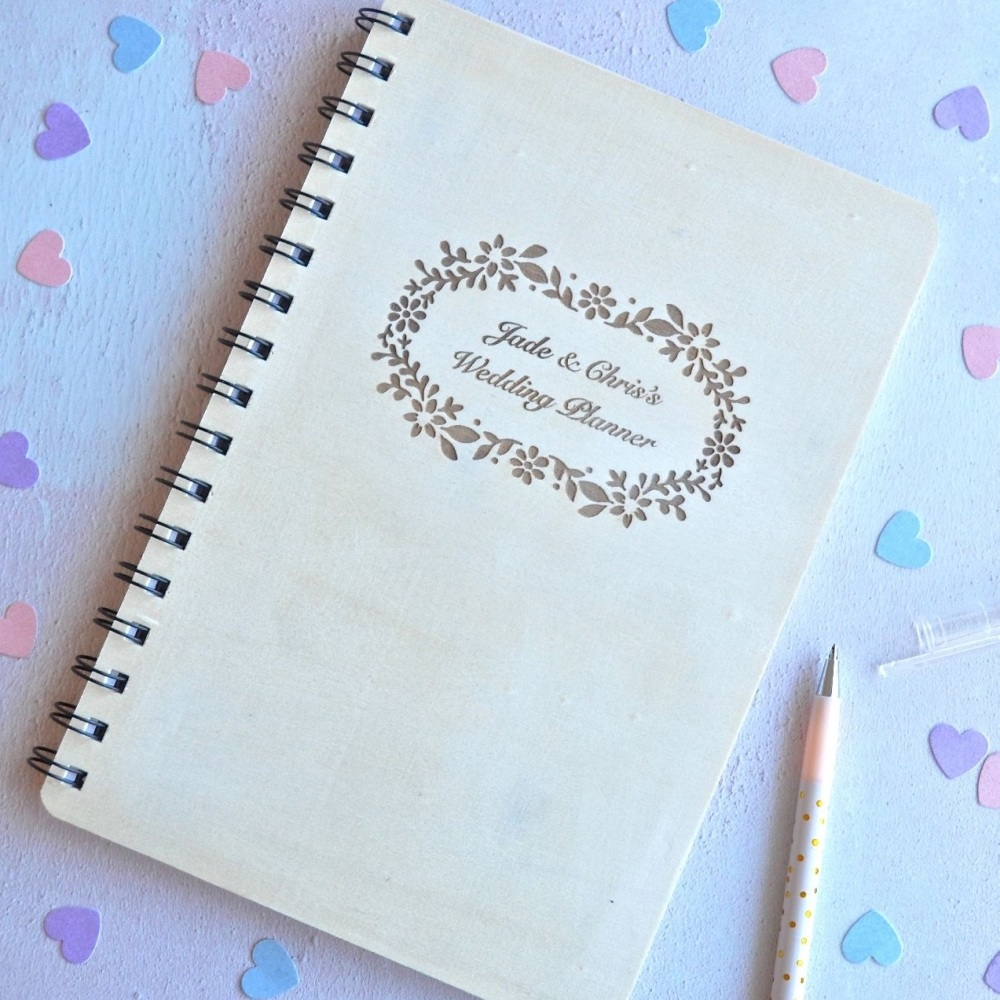 Personalised Wooden Wedding Planner Notebook