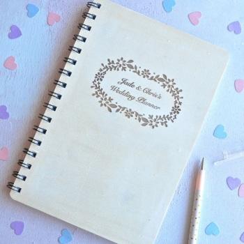 Personalised Wooden Wedding Planner Notebook