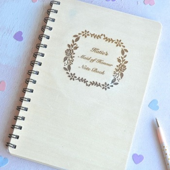 Personalised Wooden Maid of Honour Notebook