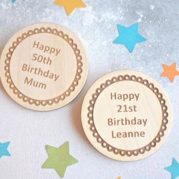 Personalised Birthday Wooden Badge