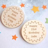 Personalised Birthday Star Wooden Badge