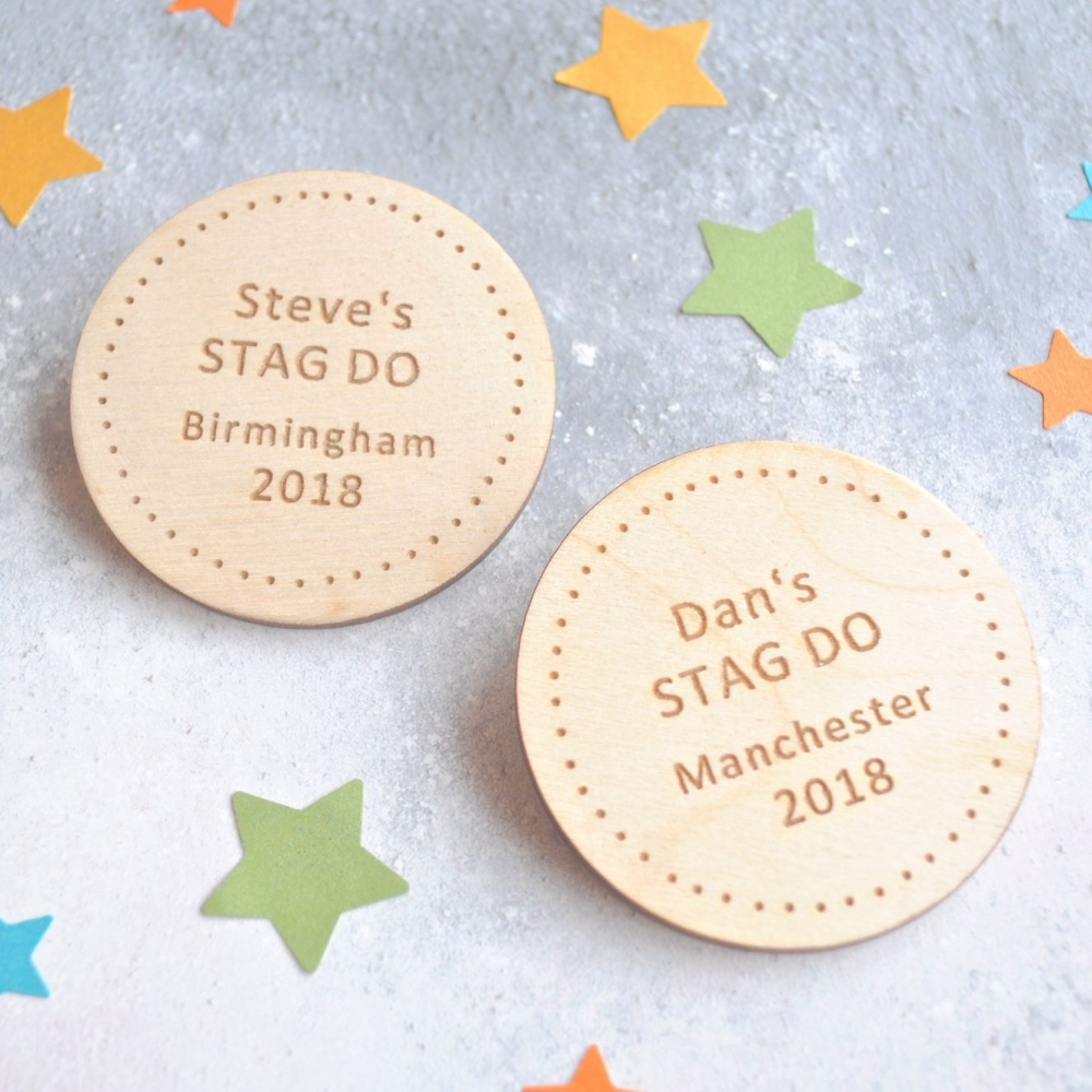 Personalised Stag Do Wooden Badges