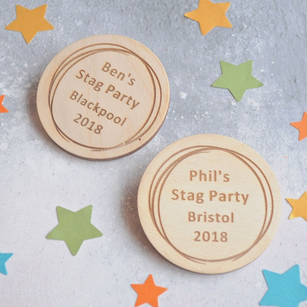 Personalised Stag Do Wooden Scribble Badge