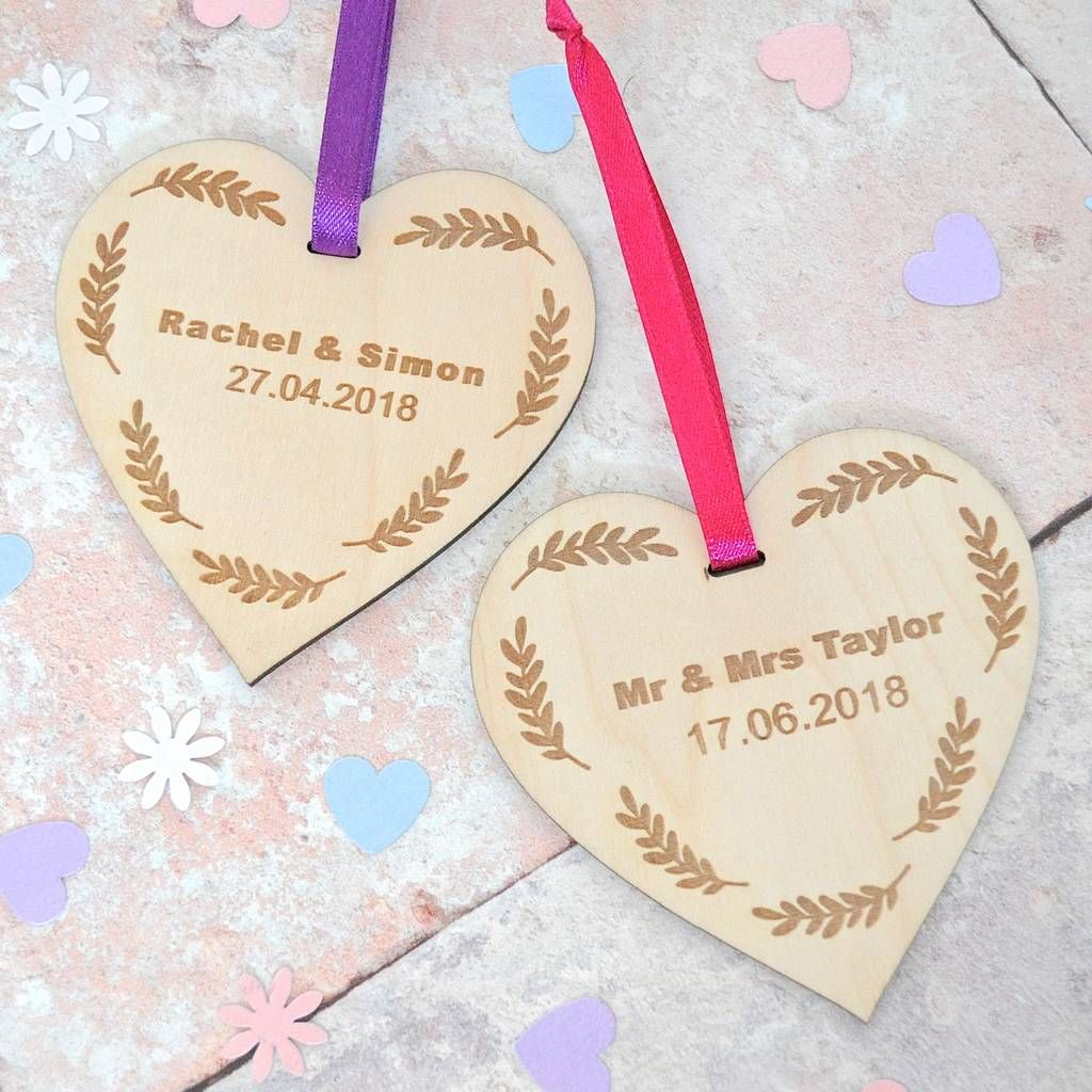 Personalised Wooden Wedding Heart Gift